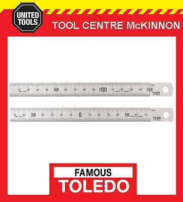 FAMOUS TOLEDO 150SP 150mm STAINLESS STEEL DOUBLE SIDED METRIC RULE / RULER