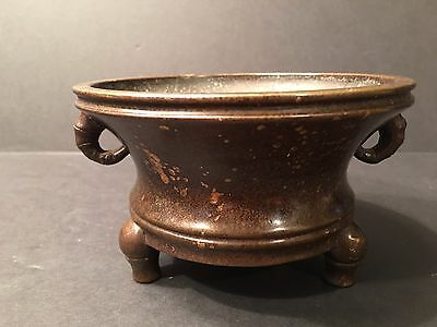 "OLD Chinese Low tripod Bronze censer, 5"" Dia. Xuande Mark. Ming/Qing Period"