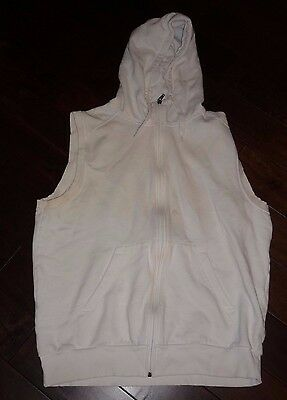No name sleeveless men's color white tank cardigan size LARGE, pre-owned