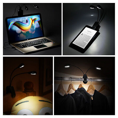 USB Rechargeable LED Light Dimmable Clip-On Desk Table Reading Book Lamp 2 Head