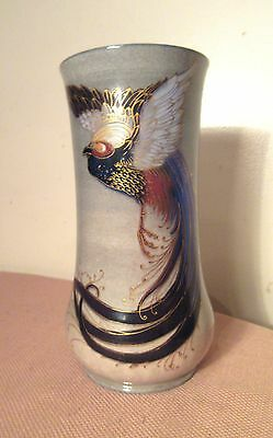 antique 1915 hand painted Royal Doulton Titanian Titanium ware phoenix bird vase