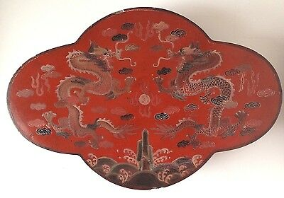 Large Chinese Red Lacquer Covered  Box w/ Incised Dragons