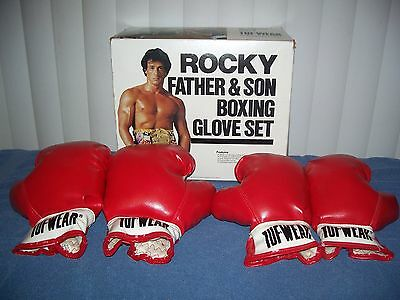 Vintage 1982 Rocky Father & Son Tuf Wear Boxing Gloves Set