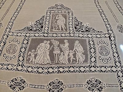 Antique Lace Bedspread With Classical Figural Work, Cutwork With Filet, Net Lace