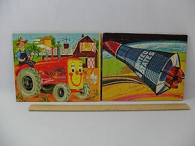 Vintage Sifo Co Jigsaw Puzzle Lot Farm Tractor Space Shuttle 1954 1962 Free Ship