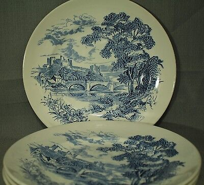 "Countryside Enoch Wedgwood Tunstall blue white dinner plates 10"" lot of 4"
