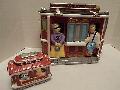 Vtg San Francisco Cable Car Company Cookie Jar With Matching Salt & Pepper Shake
