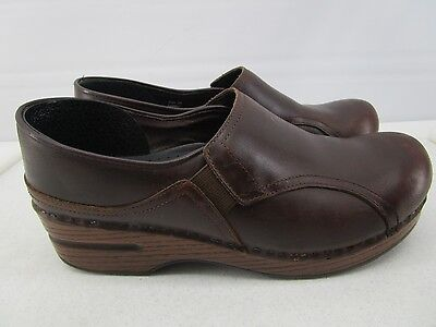 Dansko Womens Brown Leather Slip On Loafer Style Clogs Shoes Eur 38/ Us 7.5 -8