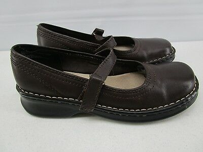 Bass 'gretchen' Womens Brown Leather Mary Jane Low Wedge Heel Shoes Us Sz 7.5 M
