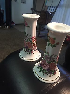 """Aynsley Candlestick Holders Signed 5"""" Tall"""