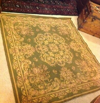 """Large Victorian Tapestry 62 X 59"""" Hunter Green Pink Gold"""
