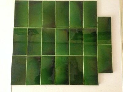 "20 Antique Green Color Tiles 6"" x 3""."