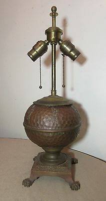 antique claw footed Arts Crafts copper brass oil converted electric table lamp.