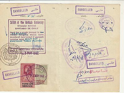 1962 Uk Chile Revenue Stamps On Document