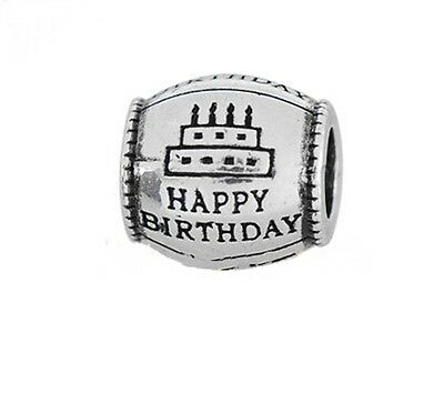Antique Silver HAPPY BIRTHDAY 11mm Barrel Large 5mm Hole European Charm Bead 1pc