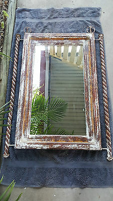 Rustic Look Metal and Timber Framed Mirror
