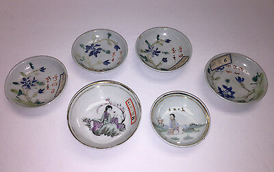 Collection of 6 Antique Chinese Porcelain Plates Marked Signed