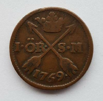 SWEDEN 1 ORE 1769 coin, with rare date