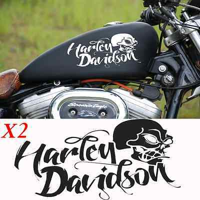 2 stickers autocollant harley davidson sportster skull iron pour reservoir moto