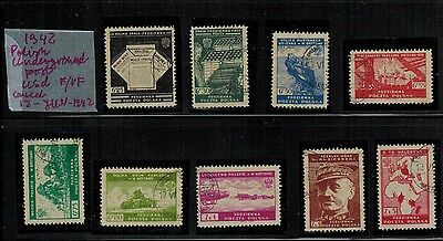 1942 Poland, WWII: Underground Polish Post  - Series of 9 VF used stamps - RARE