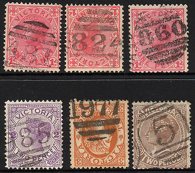 Victoria 6 state stamps Collection Barred numerals Lot A5