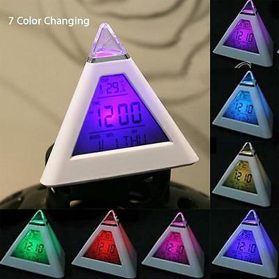 Cute 7LED Changing Color Pyramid Digital LCD Alarm Desk Clock Thermometer New