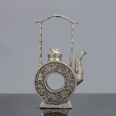 Old Chinese Tibet Silver Handwork Eight Immortals Teapot W Xuande Mark YY8