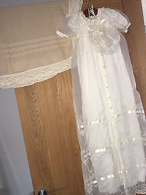 christening gown Bonnet & Shawl/blanket  3-6 months Cream Lace