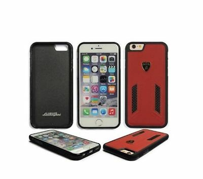 Lamborghini Huracan-D6 Leather-Carbon Fiber Back Cover Case for iPhone 7/8-Red