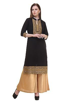 Indian Bollywood Kurta Kurti Designer Heavy Embroidery Women Ethnic Dress Top AF