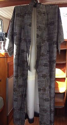 Fab Silver Grey & Brown Patterned Vintage Japanese Full Length Kimono