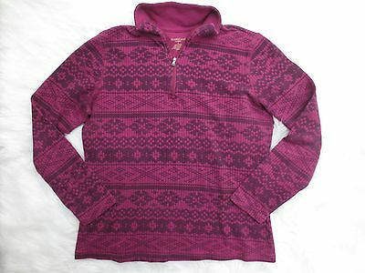 North Crest Classic Womens Large Purple Black Nordic Sweater Long Sleeve 1/2 Zip