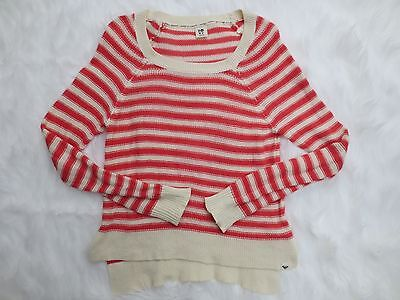 Roxy Womens Sweater Large Pink White Stripe Long Sleeve Scoop Neck Cotton