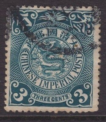 Three Cent Blue Chinese Coiled Dragon Imperial Post Used Stamp From China. Wk10