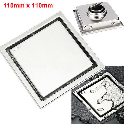 304 Stainless Steel Bathroom Shower Tile Insert Invisible Floor Drain Square AU
