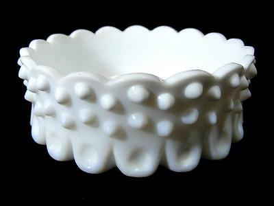 Fenton White Milk Glass Hobnail Dish / Bowl With Sticker Vintage Collectable