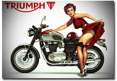 "Girl and Triumph Motorcycle Pin up Fridge Toolbox Magnet Size 3.5"" x 2.5"""