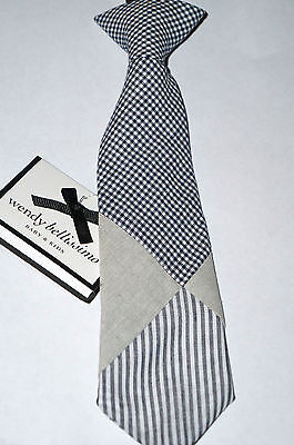 "WENDY BELLISSIMO Baby Boy's Tie Accessory 6-12M ""Navy""  Stripe/Check NWT"