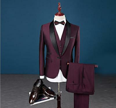 New Custom 3 Piece Sim Fit Burgundy Best Man Groomsman Men's Wedding/Prom Suits