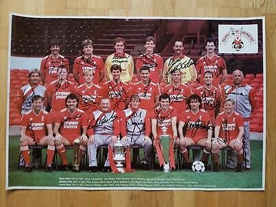Signed Liverpool '86 Double Winning Squad Poster