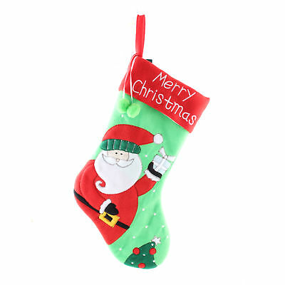 21x46cm Large Felt Embroidered Christmas Stocking Festive Santa Claus +Buckle