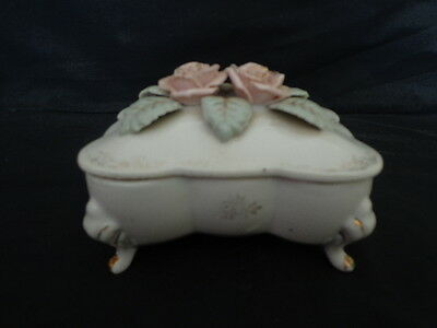 Vintage Cordey French China Pink Roses Dresser Trinket Box & 2 x Pin Dishes