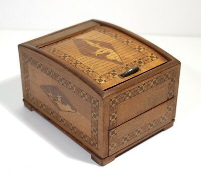 Antique Inlaid Box with Tambour Shutter Lid Circa 1920-30.