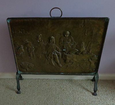 Antique/vintage Brass Fire Screen Guard For Fireplace - Claw Feet