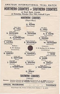 Lincoln City: Northern Counties V Souther Counties 1961/62 Amateur Trial