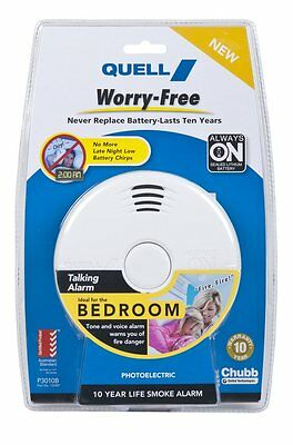 Quell worry free photo electric alarm with escape light