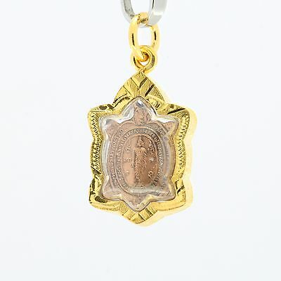 Thai Amulet pendant Magic Turtle LP Liw Buddha pendant Good Luck Safe Charm.
