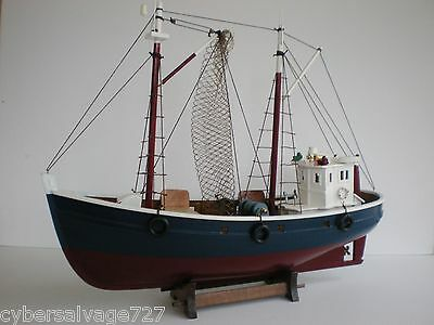 """18"""" Fishing Boat Wooden Ship Vessel Handcrafted Model Fully Assemble W Stand New"""