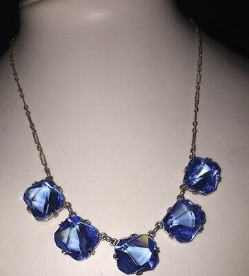 Large Blue Glass Faceted Open Back Paper Clip Chain ~ Sterling Art Deco Necklace