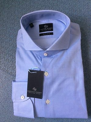 """CHESTER BARRIE pale blue shirt 2 ply cotton 17.5"""" BNWT"""